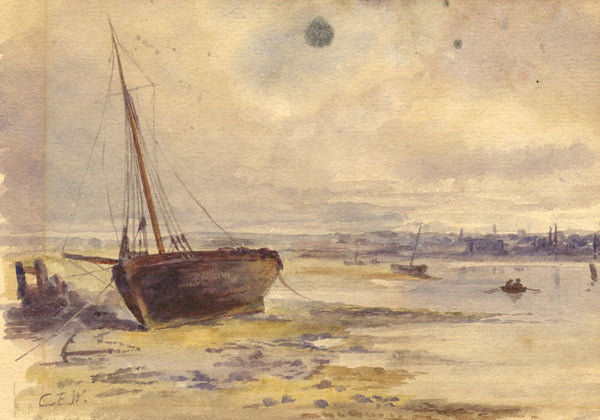 C.E.W., Beached Sailing Boat, Yarmouth - Original 19th-century watercolour painting