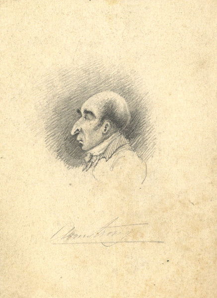 "Caricature of Man ""Armstrong"" - Original 19th-century graphite drawing"