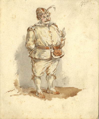 16th-century Man with Feathered Hat - Original early 20th-century watercolour painting