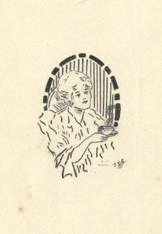J.K. Gibson, Art Deco Lady with Tea Cup - Original 1919 graphite drawing
