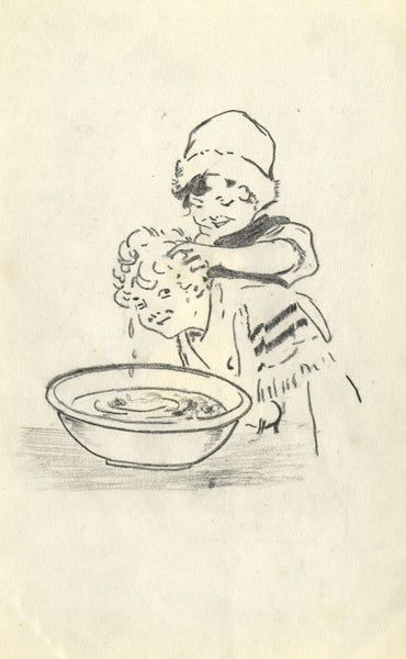 J.K. Gibson, 1920s Children Washing Hair - Original 1919 graphite drawing