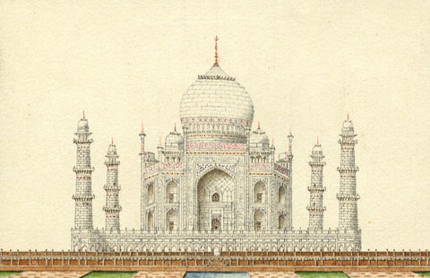 Taj Mahal Rear Indian Miniature Company Painting - Original 19th-century watercolour