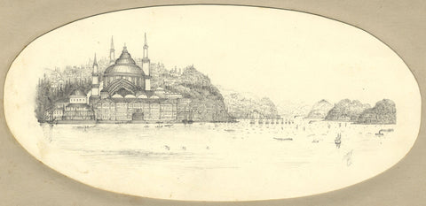 T.H., Grand Mosque by Lake, India - Original 19th-century graphite drawing