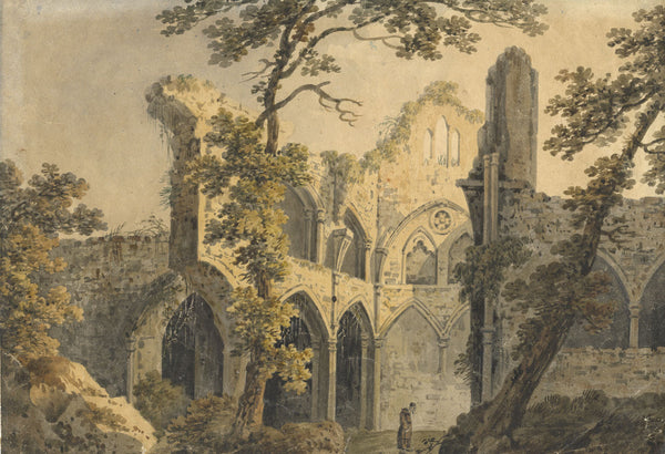 Abbey Ruin with Monk - Original 1862 watercolour painting
