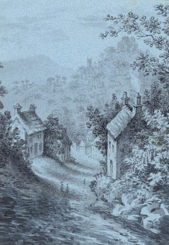 Winding Country Street in Grisaille - Original 19th-century watercolour painting