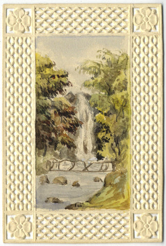 Waterfall in Miniature - Original 19th-century watercolour painting