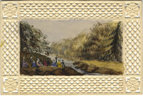 Seated Party at Riverside in Miniature - Original 19th-century watercolour painting