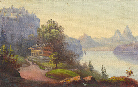 Miniature Alpine View with Lakeside Lodge - Original 19th-century oil painting