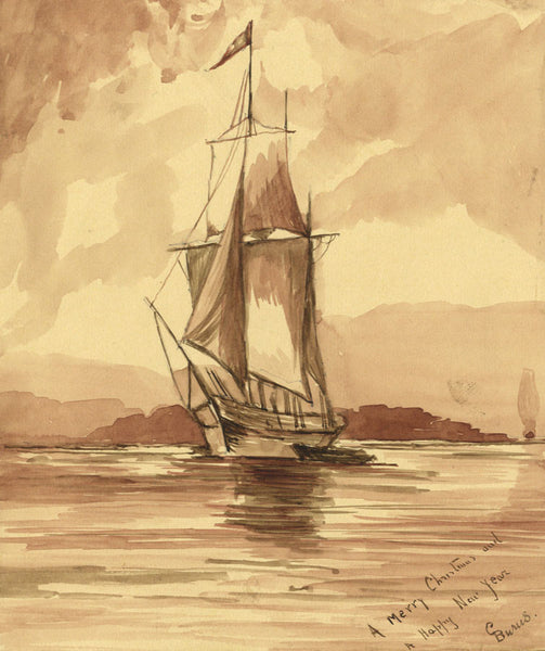 C. Burns, Sailing Ship on Calm Waters - Original 19th-century watercolour painting
