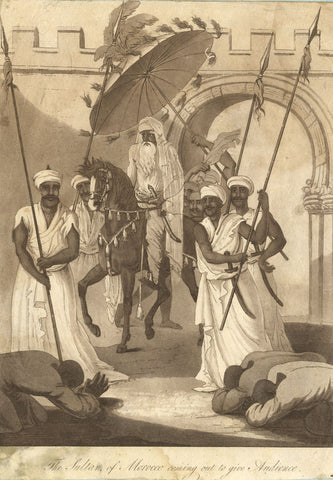 Sultan of Morocco Coming out to Give Audience - Original 1817 aquatint print