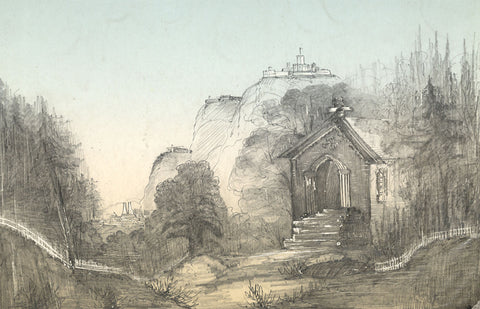 Continental Mountain Chapel - Original 19th-century graphite drawing