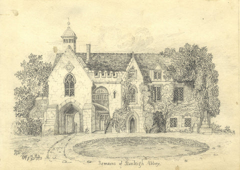 Stoneleigh Abbey Cistercian Remains - Original 19th-century graphite drawing