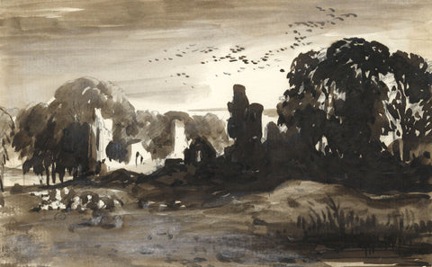 E.T.C., Grisaille Landscape with Ruin - Original 19th-century watercolour painting