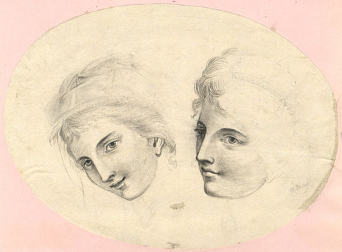 Hay, Portrait of Two Girls - Original 19th-century graphite drawing