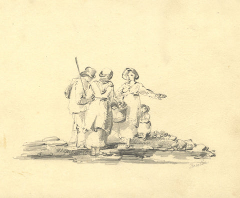 Rosalba, Country Figures Gathered with Basket - Original 19th-century graphite drawing