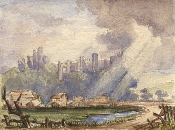 Arundel Castle, West Sussex - Original 19th-century watercolour painting
