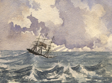 Sailing Ship, Stormy Afternoon - Original 1861 watercolour painting