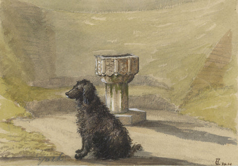 E.C., Font at Mavisbank House with Dog - Original 1860 watercolour painting