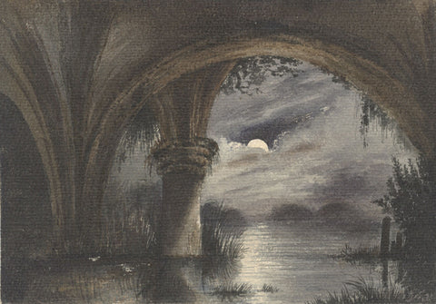 Moonlit River Cloisters - Original 19th-century watercolour painting