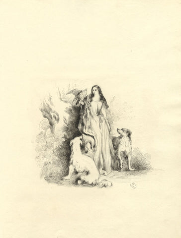 C.E.A., Nymph Woman with Dogs & Bird of Prey - Original 1860 pen & ink drawing