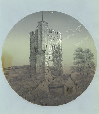 W.J.G., Church Tower - Original 1852 graphite drawing
