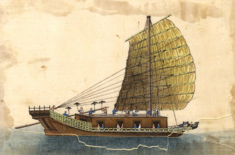 Antique 19th-century Chinese Painting on Pith, Chinese Junk Boat