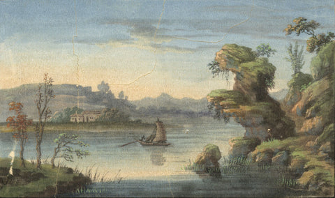Antique 19th-century Painting on Pith, River Landscape with Sailing Boat