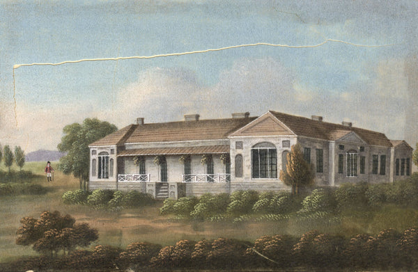 Antique 19th-century Painting on Pith, Longwood Napoleon's Residence St Helena