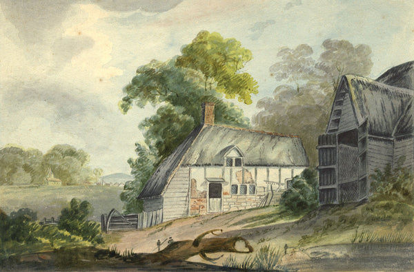 Country Farm Buildings - Original 1879 watercolour painting
