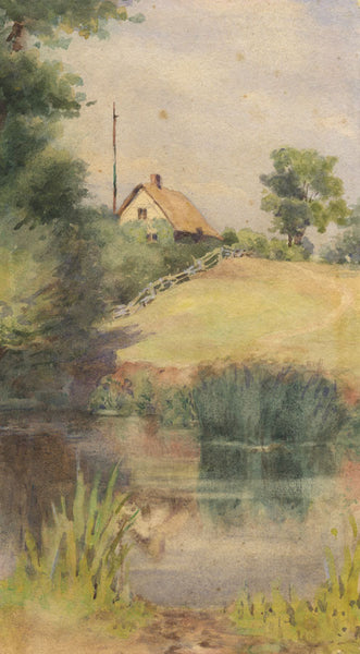 Cottage by Riverside - Original 19th-century watercolour painting