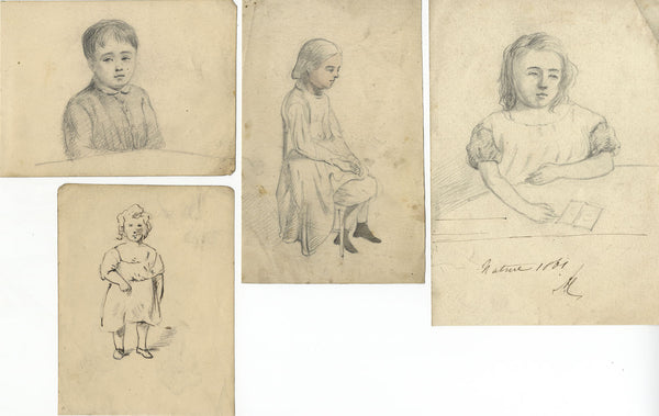 Child Portrait Studies on Four Sheets - Four original 1861 graphite drawings