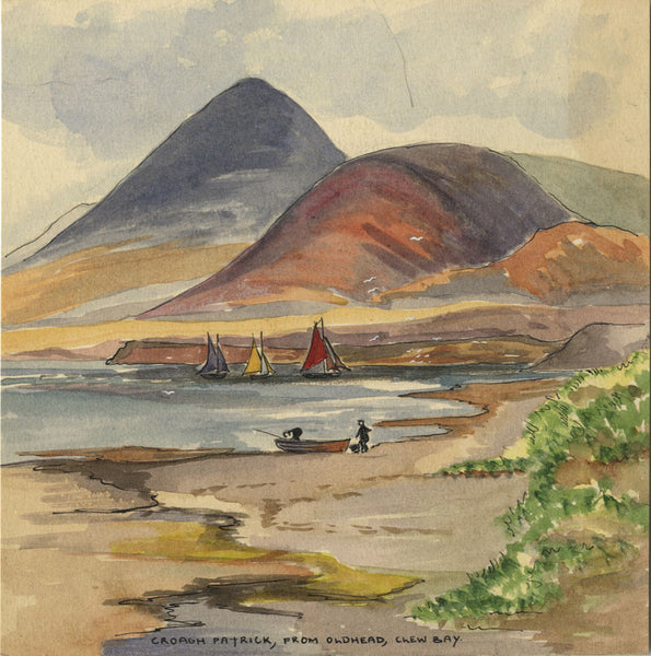 Croagh Patrick, Clew Bay, Co. Mayo - Original early 20th-century watercolour painting
