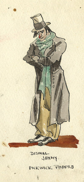 Charles Dickens, Dismal Jemmy, Pickwick Papers - Early 20th-century watercolour