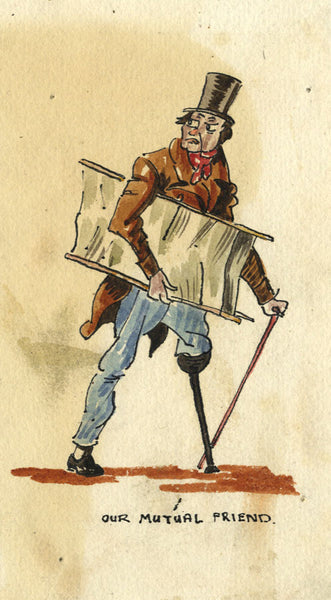 Charles Dickens, Silas Wegg, Our Mutual Friend - Early 20th-century watercolour