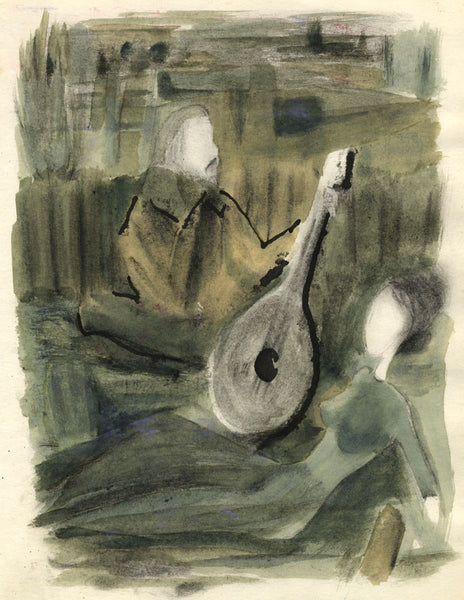 Circle of Keith Vaughan, Smerdyakov with a Guitar - Original mid-20th-century watercolour painting