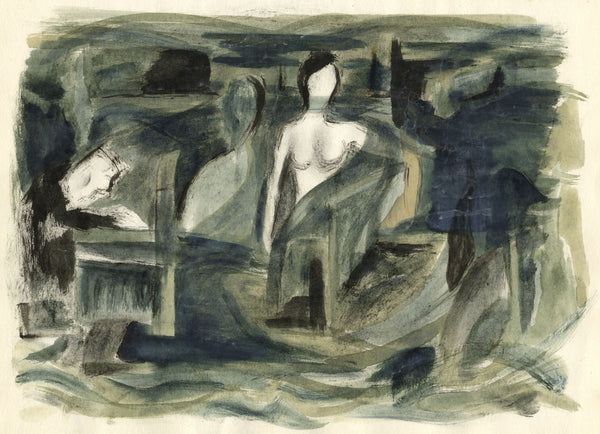 Circle of Keith Vaughan, The Piano and the Sea - Original mid-20th-century watercolour painting