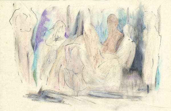 Circle of Keith Vaughan, Abstract Nude Figures - Original mid-20th-century watercolour painting