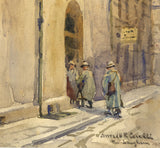Conrad H.R. Carelli, Continental Street Scene - Early 20th-century watercolour