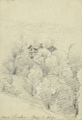 F.C. Tottie, Cottage & Pear Trees, Bocken, Lake Zurich -1857 graphite drawing