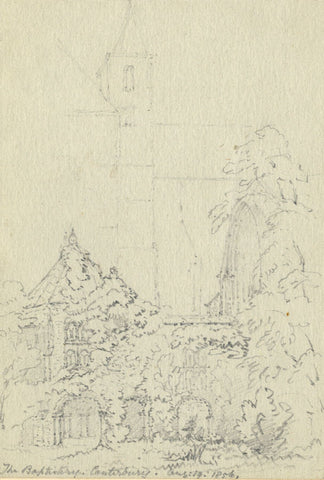 F.C. Tottie, The Baptistry at Canterbury Cathedral - 1856 graphite drawing