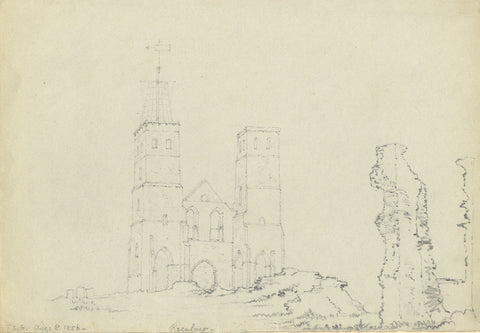 F.C. Tottie, St Mary's Church, Reculver & Roman Fort - 1856 graphite drawing