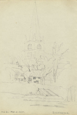 F.C. Tottie, St Peter and St Paul Church, Buckingham - 1855 graphite drawing
