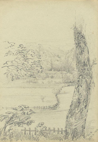 F.C. Tottie, Holme Hall, Cliviger, Lancashire - Original 1854 graphite drawing