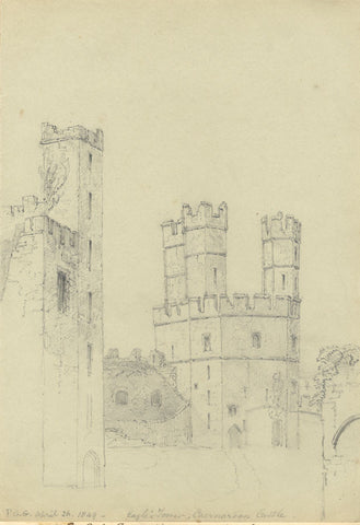 F.C. Tottie, Eagle Tower, Caernarfon Castle, North Wales - 1849 graphite drawing