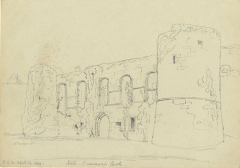 F.C. Tottie, The Hall, Beaumaris Castle - Original 1849 graphite drawing