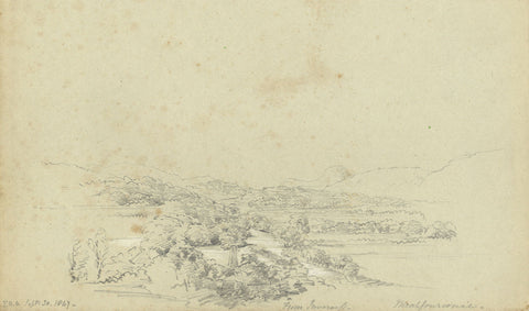 F.C. Tottie, View of Mealfuarvonie from Inverness -19th-century graphite drawing