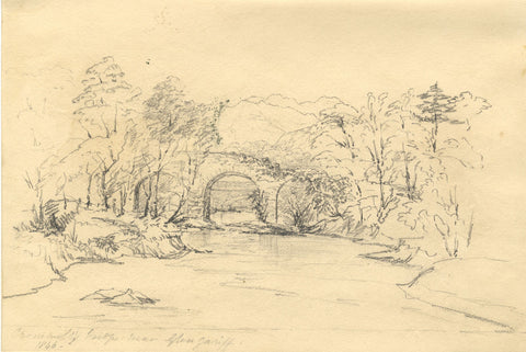 F.C. Tottie, Cromwell's Bridge near Bantry Bay - Original 1846 graphite drawing