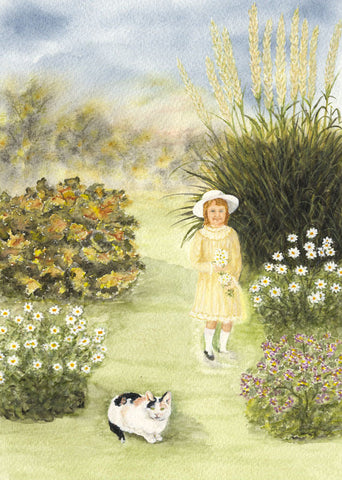 Hilda Watkins, Garden Scene with Girl and Cat - Original 1981 watercolour painting