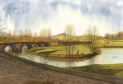 Hilda Watkins, River Lugg, Mordiford, Herefordshire - Original 1981 watercolour painting