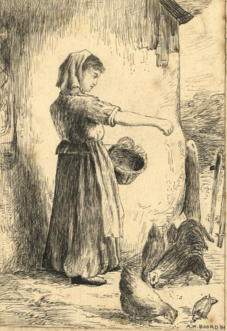 A.H. Boord, Girl Feeding Chickens - Original 1884 pen & ink drawing